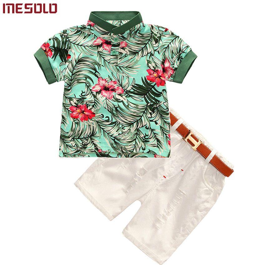 2017 Hot-vente 2 pcs Enfant Enfants Bébé Frais Garçon Fleur À Manches Courtes Polo T-shirt Tops + Pantalon Court tenues Vêtements Set