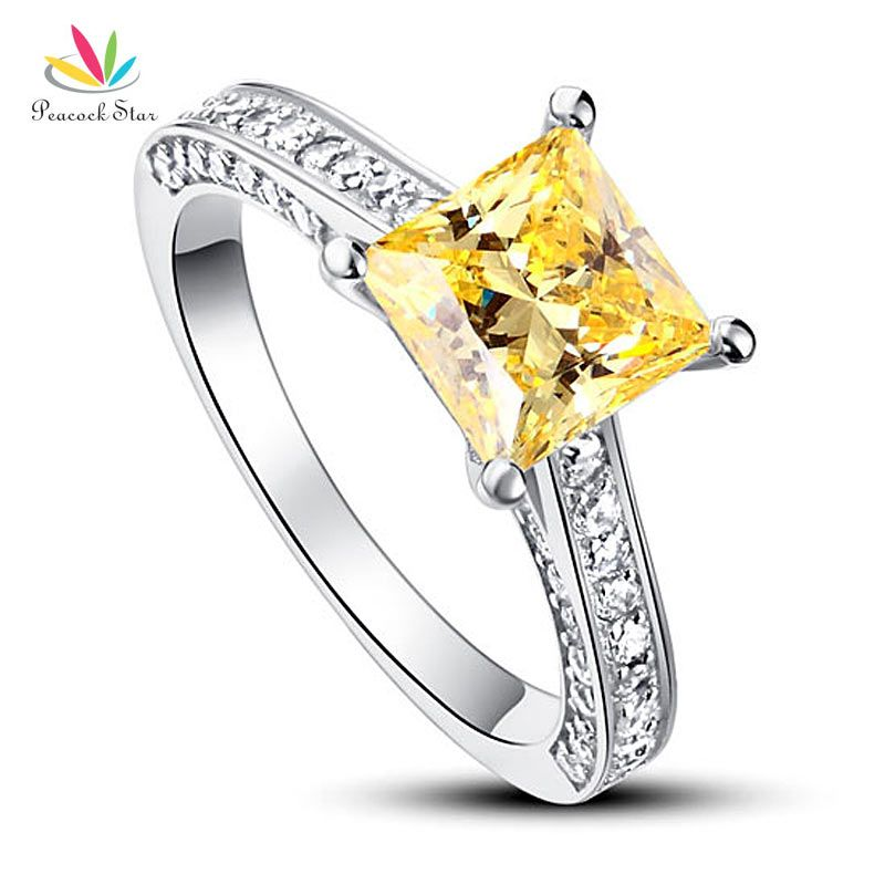 Peacock Star 1.5 Ct Princess Cut Yellow Canary Solid 925 Sterling Silver Wedding Promise Engagement Ring CFR8194
