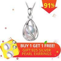 FENASY joyería de La Perla natural colgante de La Perla jaula collar de fiesta, estilo de moda de perla de agua dulce Collar de plata colgante de la caja de regalo