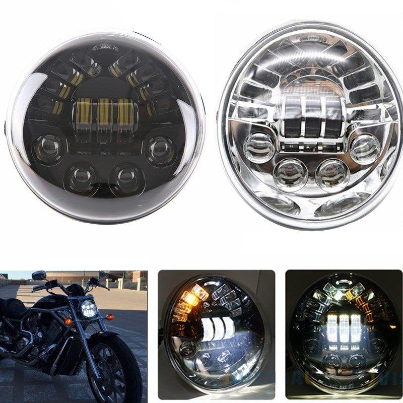 DOT E9 LED Oval Headlight With Yellow Turn signal White Daytime Running Light For Harley V Rod VRSCF VRSC VRSCR Harley Headlamp