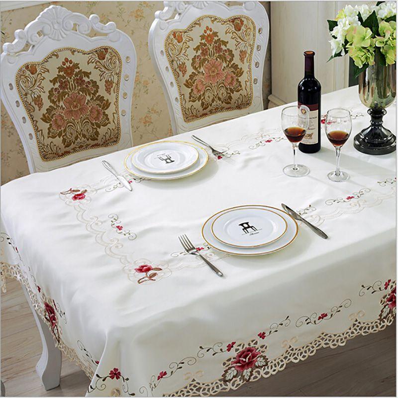 Style européen nappe de mariage brodé Floral dentelle bord antipoussière couvertures pour Table maison fête nappes de haute qualité