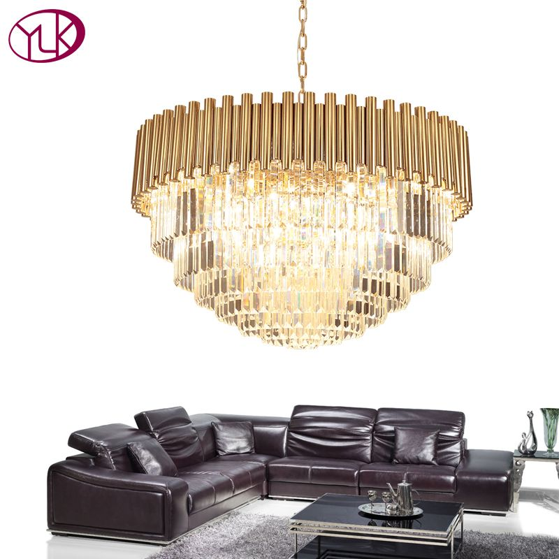 Youlaike Top Luxury Modern Chandelier Crystal Light Living Room Dining Room Gold Steel Lighting Fixtures LED Lustres De Cristal