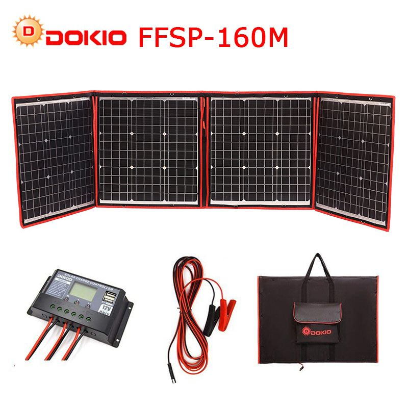 Dokio 150 w 160 w (40Wx4 stücke) flexible Faltbare Mono Solar Panel Licht Tragbare High Power Outdoor Solar Panel China Für Reise & Boot