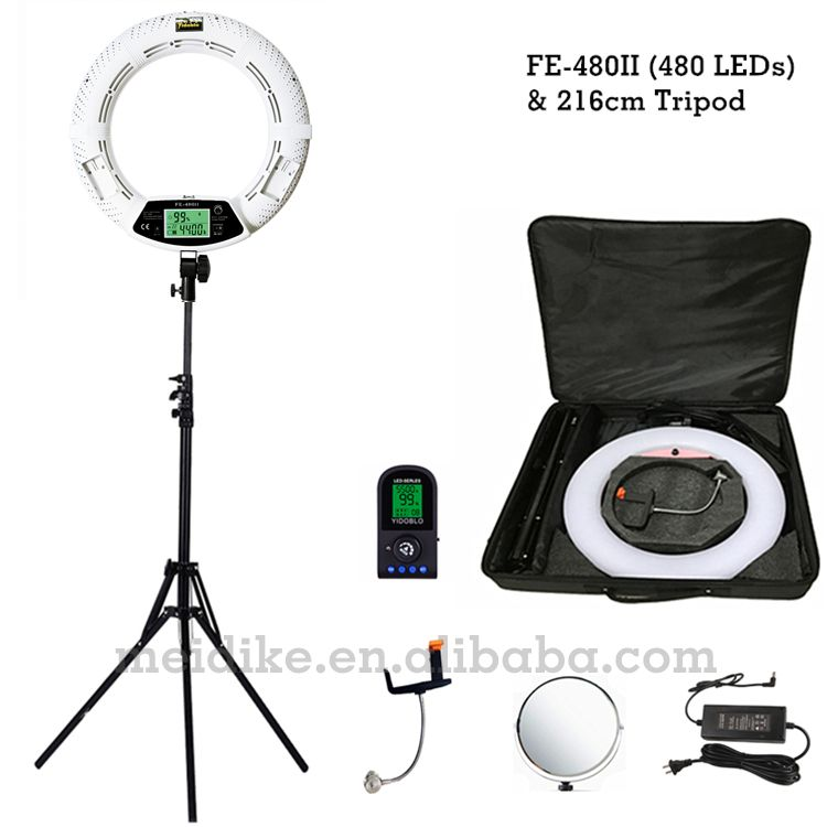 Yidoblo white FE-480II Dimmable Bi-color Ring Light 480 LED Video Continue Lamp LCD RC Photographic Lighting +2M stand+Soft case