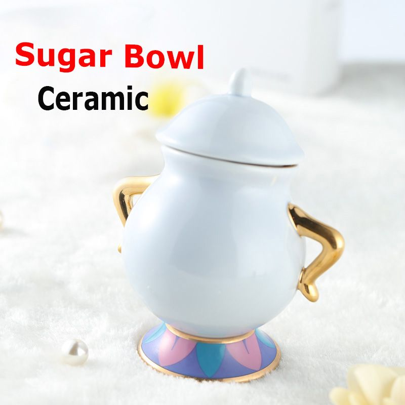 Hot Sale Beauty and The Beast Sugar <font><b>Bowl</b></font> Pot Geniune Ceramic Coffee Tea Set Cartoon Xmas Gift Drop Shipping Fast Post
