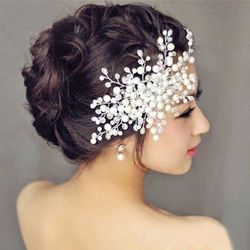 1 Pcs Pesona Wanita Pengantin Kristal Mutiara Berlian Buatan Pengantin Pernikahan Sisir Rambut Sisir Rambut Aksesoris 2 Gaya