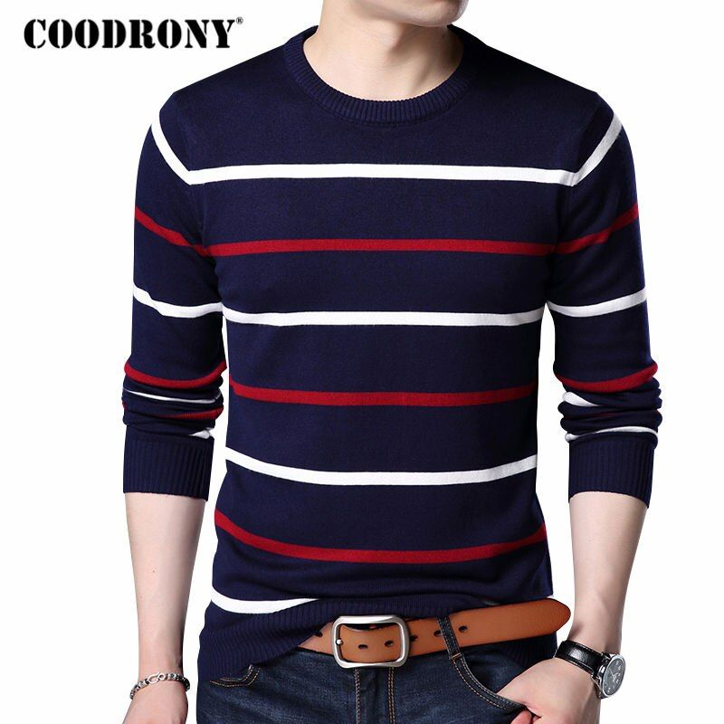 COODRONY O-Neck Pullover Men Brand Clothing 2017 Autumn Winter New <font><b>Arrival</b></font> Cashmere Wool Sweater Men Casual Striped Pull Men 152