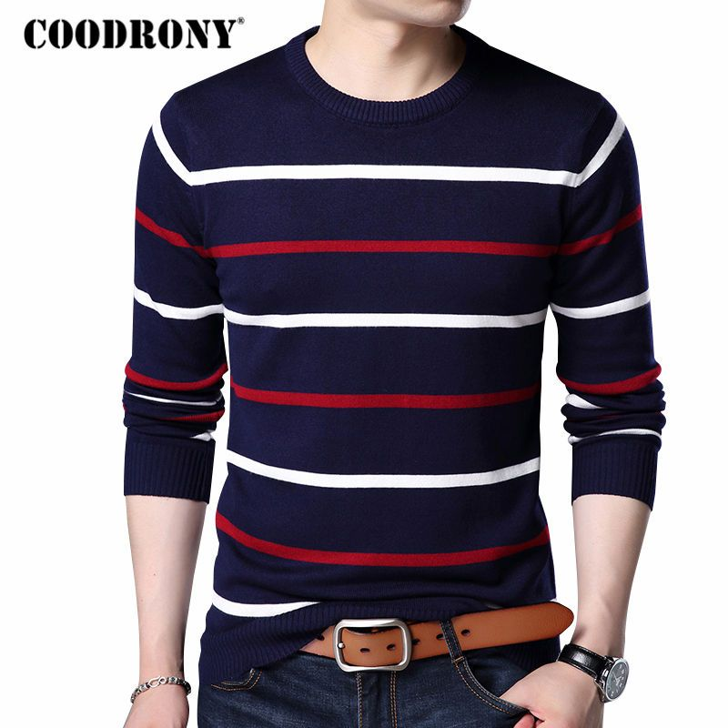 COODRONY O-Neck Pullover Men Brand Clothing 2018 Autumn Winter New <font><b>Arrival</b></font> Cashmere Wool Sweater Men Casual Striped Pull Men 152