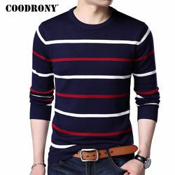 COODRONY O-Neck Pullover Men Brand Clothing 2020 Autumn Winter New Arrival Cashmere Wool Sweater Men Casual Striped Pull Men 152
