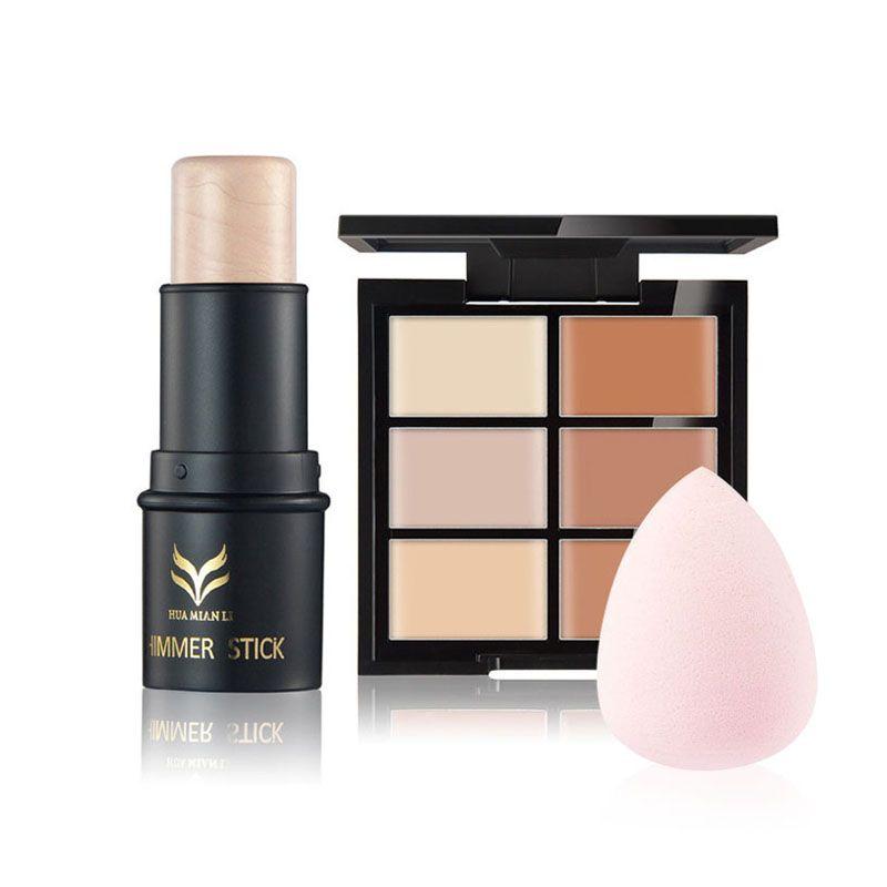 6 + 1 couleur pro visage contour kit lumière et foncé concealer palette maquillage minceur base avec puff visage maquillages