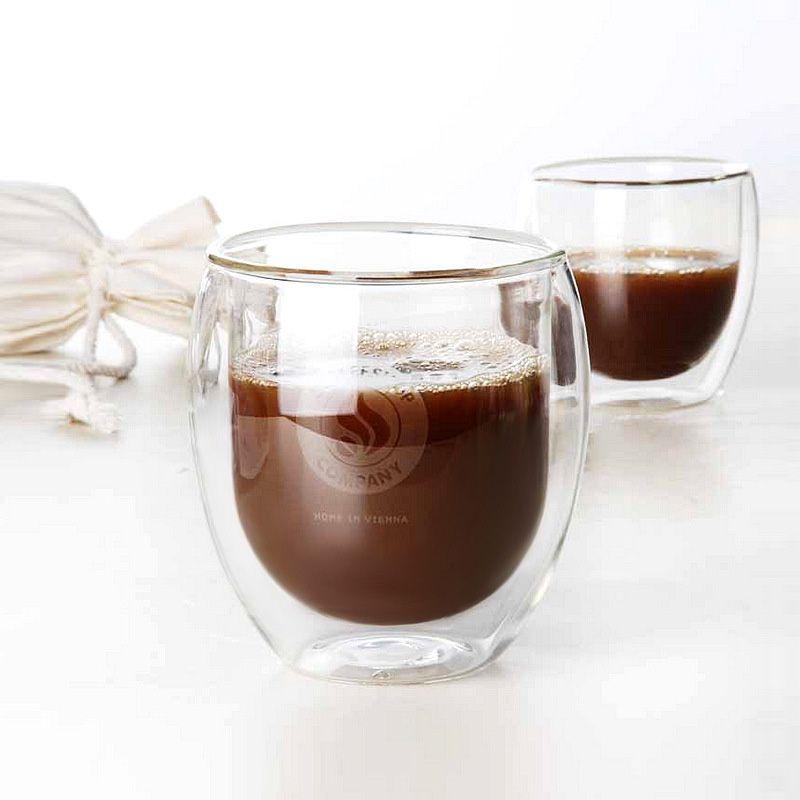 400 ml Main Café Tasse Verre Double Couche Tasse de Thé Résistant À La Chaleur Européen Café En Verre
