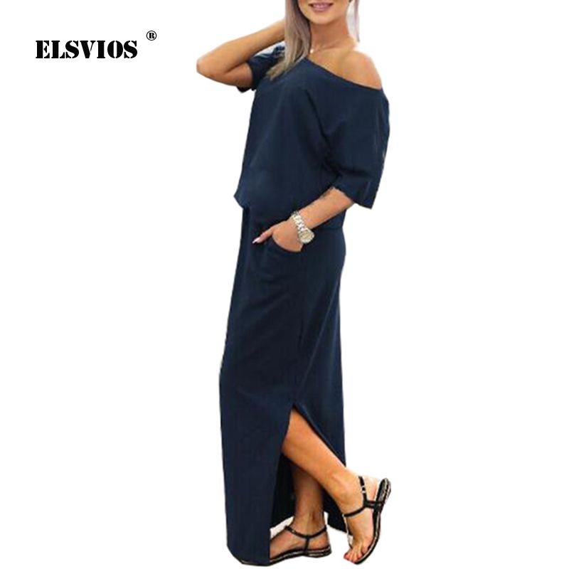 ELSVIOS Sexy Slash neck Side Split Loose <font><b>Dress</b></font> Women Summer Long Maxi <font><b>Dress</b></font> Short Sleeve Evening Party <font><b>Dress</b></font> Pocket Vestidos
