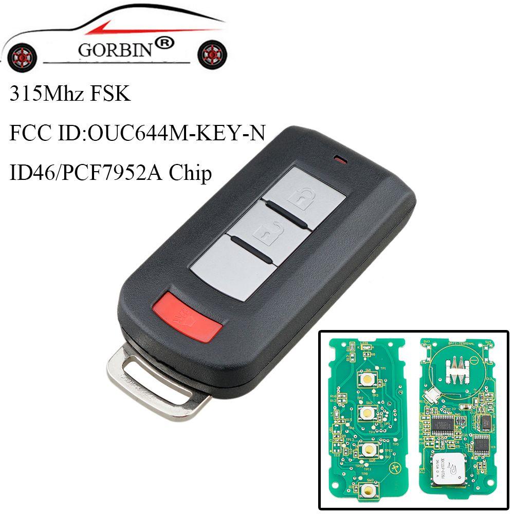 GORBIN 3 Tasten Smart Remote Key Fob Keyless PCF7952 Chip 315 Mhz Für Mitsubishi Lancer Outlander Galant 2008-2017 auto schlüssel