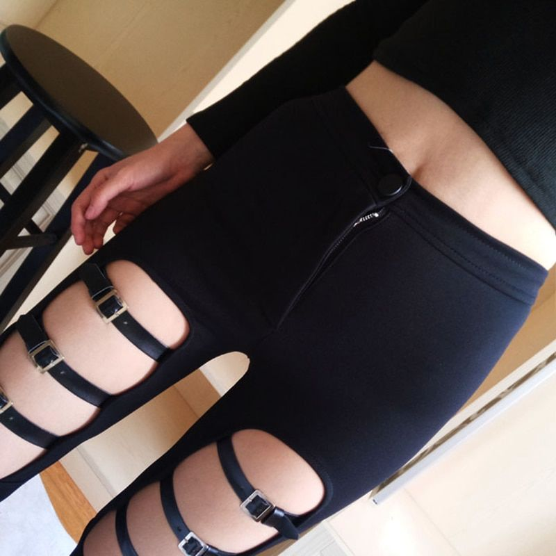 Punk Women Pants Female Trousers Elastic PU Leather Buckle Hollow Out Skinny Pencil Pants