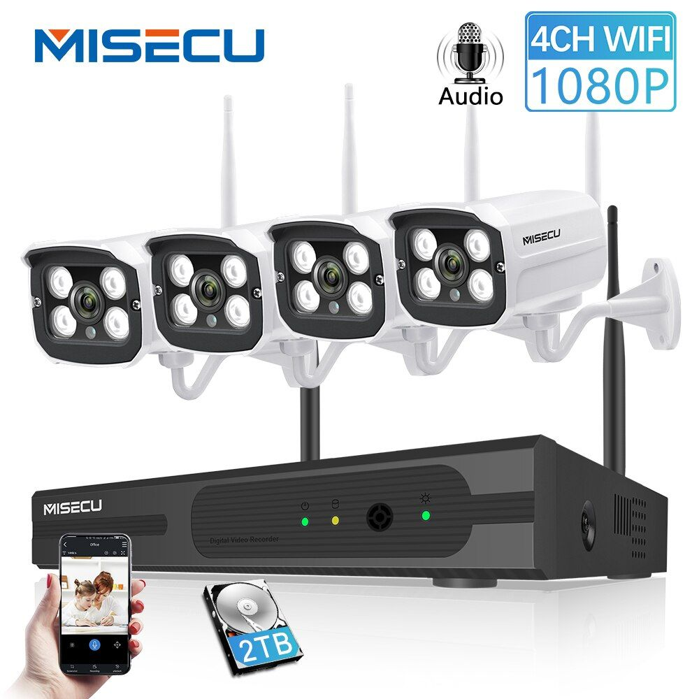 MISECU Stecker und Spielen 4CH 1080P HD Wireless NVR Kit P2P 1080P 2MP Indoor Outdoor Kamera Audio Record wasserdicht CCTV WIFI System