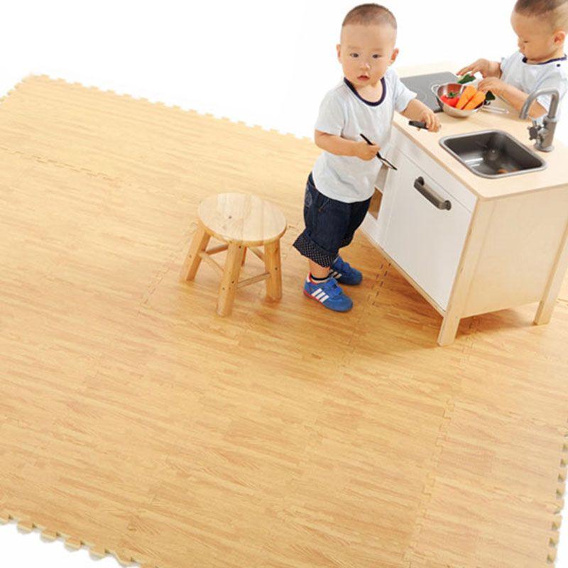 9pcs 30 X 30cm Floor Mat EVA Wood Kitchen Mats Wood-like Carpet tapis de cuisine Children's Rugs for Home Bedroom