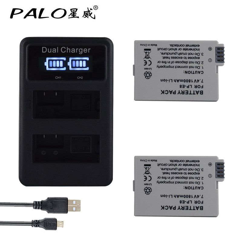 2*LP E8 1800mAh high-capacity camera battery+charger LCD smart chip USB digital charger LED canon EOS 550D 600D 650D 700D X4 X5