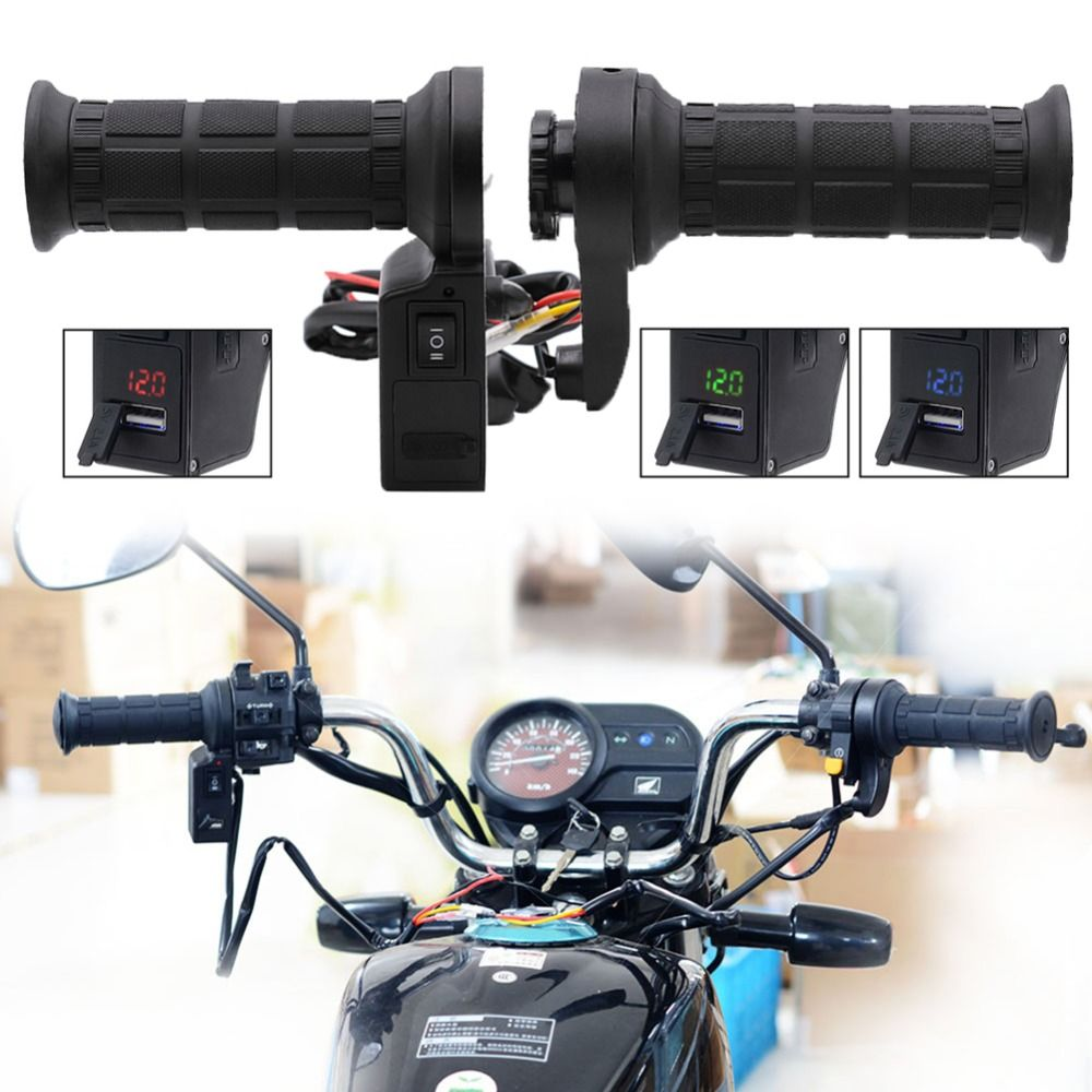 New 3in1 Black Motorcycle Handlebar Electric Hot Heated Grips Handle Voltage USB Charger