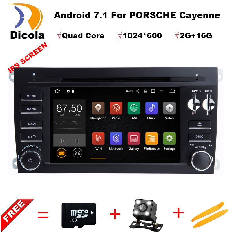1024*600 Quad Core 7'' Android 7.1 Car DVD Player for Porsche Cayenne 2003-2010 With Bluetooth Head unit Radio RDS Wifi 4G/DAB+