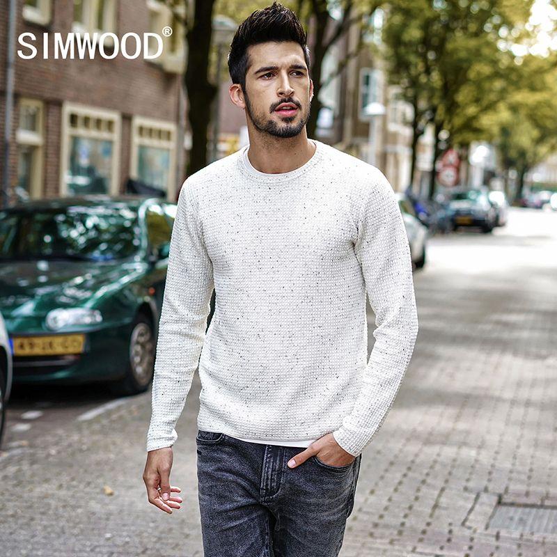 Simwood 2018 Весна Зимний пуловер Для мужчин вязаный свитер Slim Fit мужской плюс Размеры Высокое качество модный бренд Для мужчин свитер MT017030