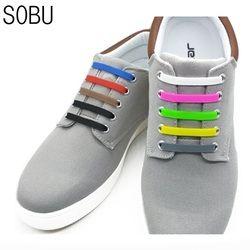 16 unids/lote nueva elásticos del zapato Encaje sin corbata silicona Cordones para zapatos para todos zapatilla creativo Cordones para zapatos para unisex niños k052