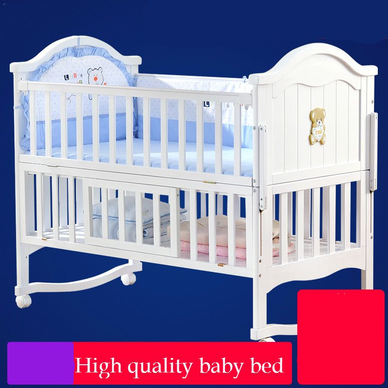 High quality solid wood baby bed multi-functional newborn crib child shaker bed game playpen neonatal splicing bed variable desk