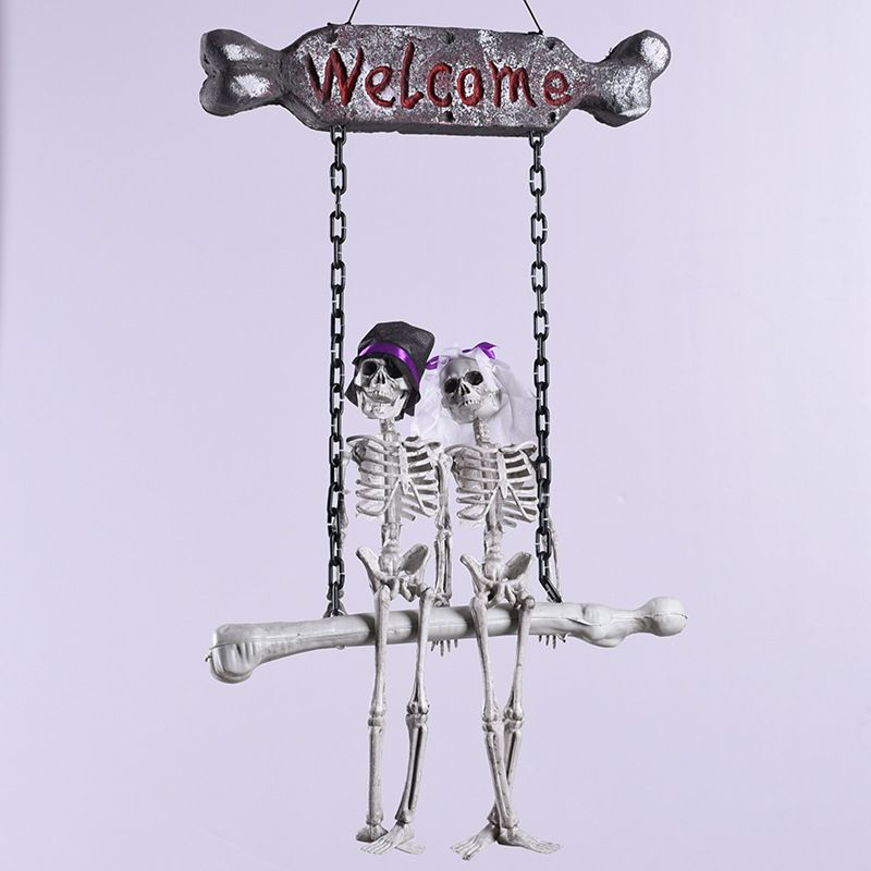Scary Halloween Hanging Skull Skeleton Ghost Bridegroom Bride Welcome Sign Tricky Toy Horror Haunted House Escape Halloween Prop
