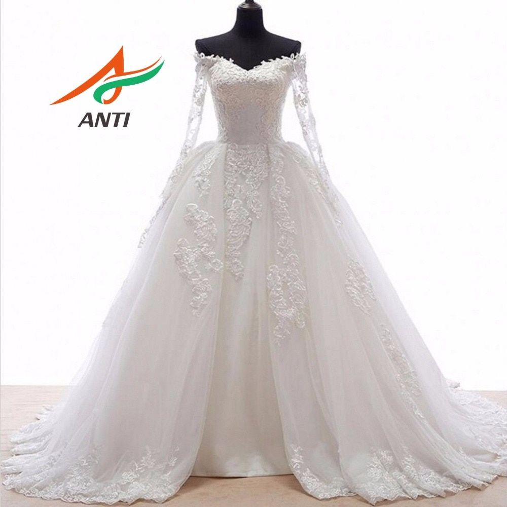 ANTI Romantic Ball Gown Wedding Dress With Long Sleeves Appliques Front open skirts fold Train Robe De Mariee Bridal Gowns 44YSB