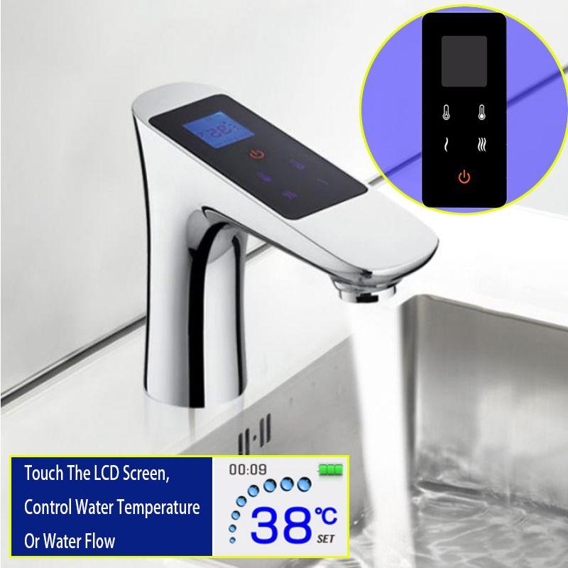 Touchscreen Becken Wasserhahn Control Temperatur Fluss Moderne Chrom Waschen Wasserhahn Thermostat Digital LCD Messing Basinwash Mischbatterie