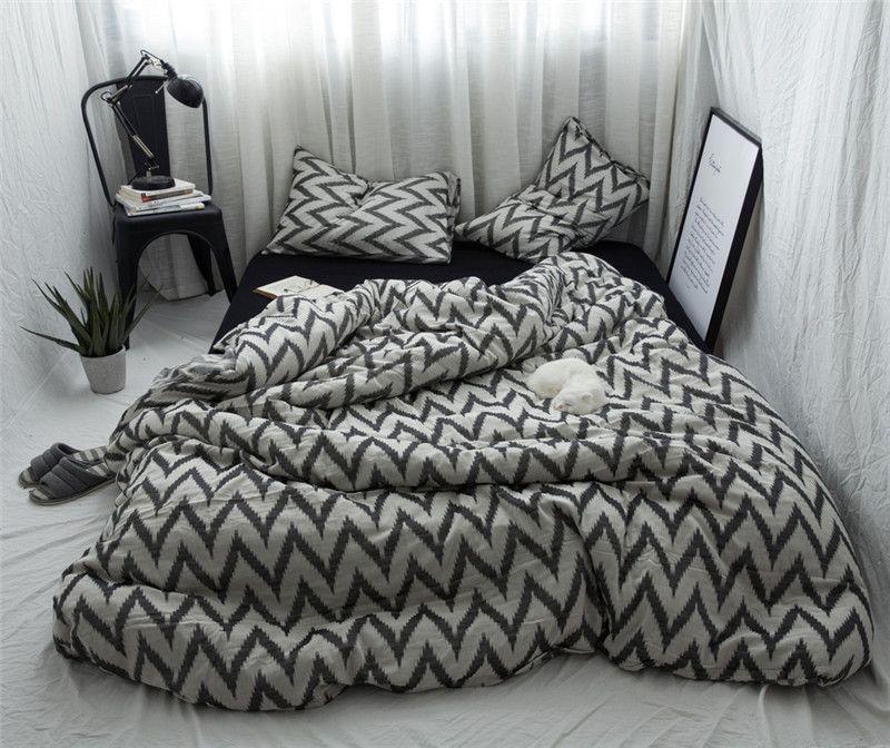 Dunkelgrau Welle muster Bettwäsche Sets moderne Beddingset Bettwäsche Duvet Abdeckung Bettlaken Kissen/bett Sets