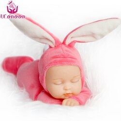 25CM Rabbit Plush Stuffed Baby Doll Simulated Babies Sleeping Dolls Children Toys Birthday Gift For Babies 5 Colors doll reborn