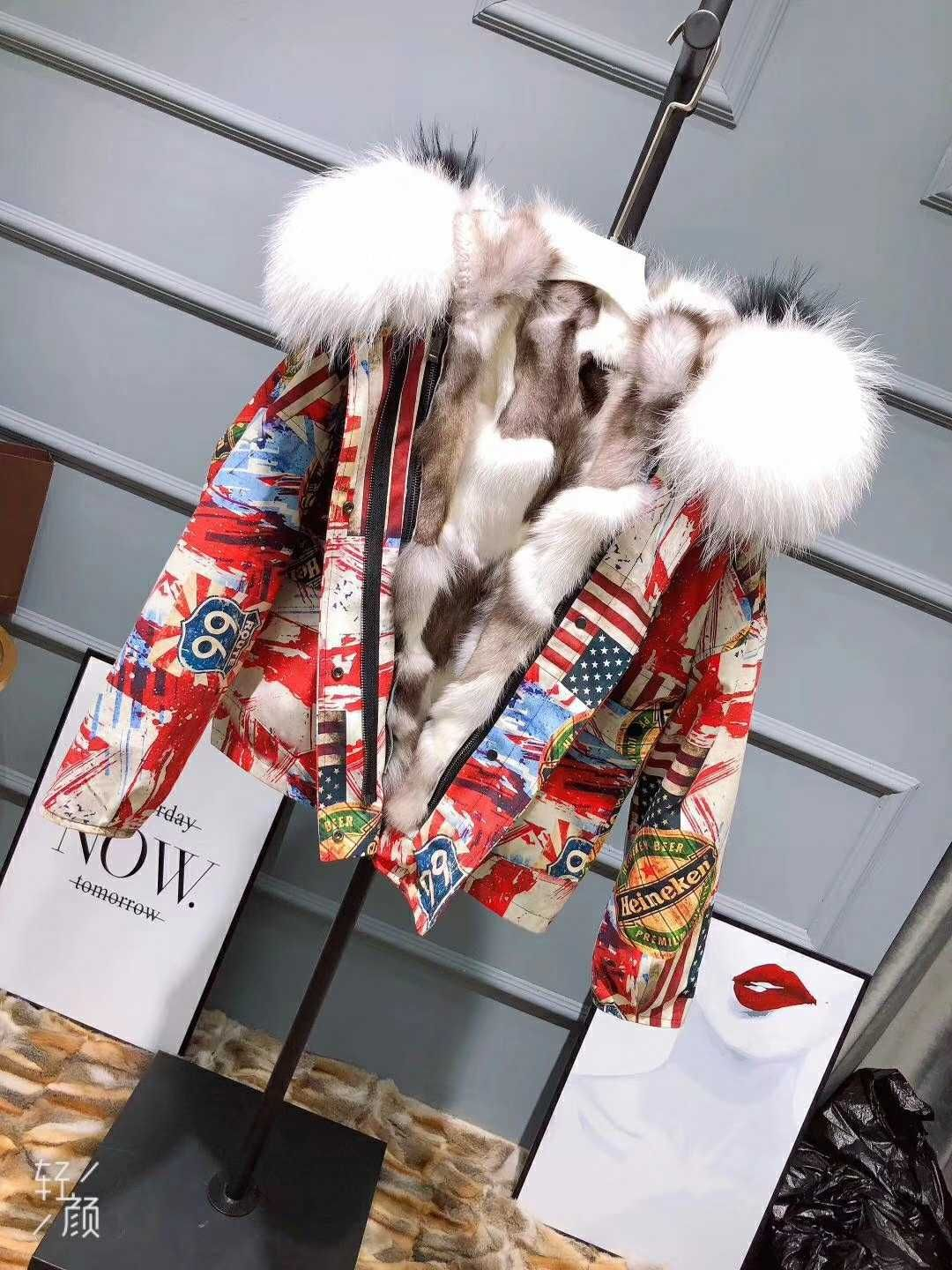 2018 New Arrivals Thicken Warm abstract print jacket real fox inner large white fur collar winter jacket coat for women