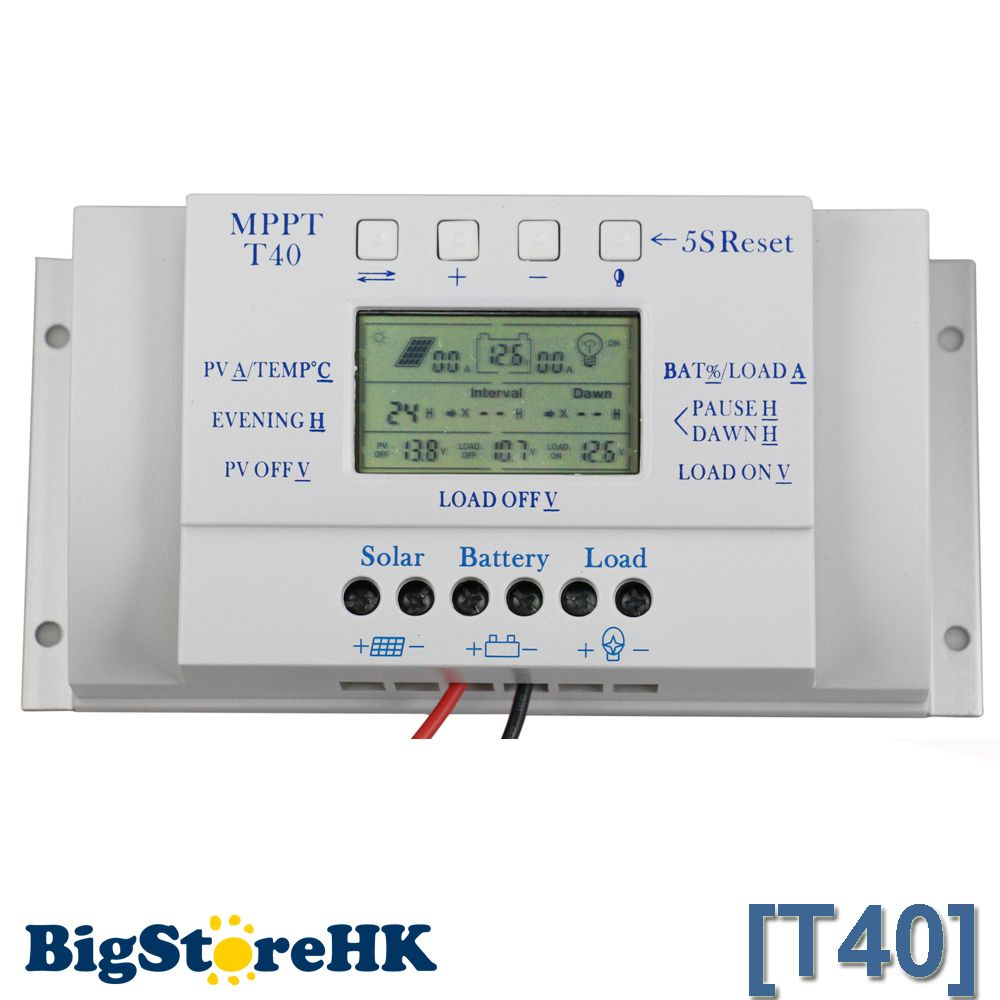 12V 24V 40A MPPT PWM Solar Regulator with LCD Display USB Intelligent Streetlight Three-time Solar Charge Controller Y-SOLAR