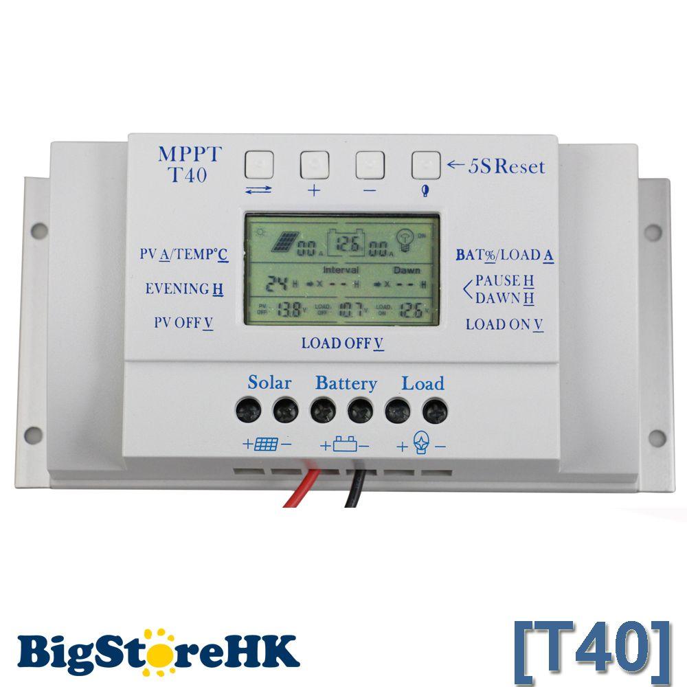 12V 24V 40A MPPT PWM Solar Regulator with LCD Display USB Intelligent Streetlight Three-time Solar Charge Controller Y-SOLAR
