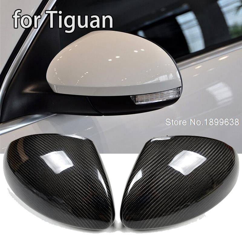 NEW 1:1 Replacement Carbon Fiber Rear View Mirror Cover car styling for Volkswagen VW Tiguan 2009 - 2015