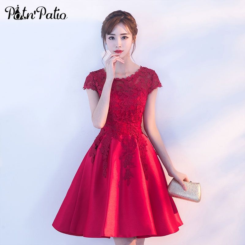 PotN'Patio Short Prom Dresses 2018 New Elegant O-neck Cap Sleeves Wine Red Lace Evening Party Dresses For Graduation