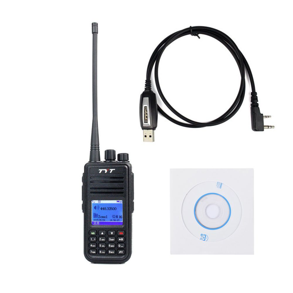 TYT Tytera MD-380 UHF 400-480MHz DMR Digital Radio 1000 Channels Walkie Talkie Transceiver USB Programming Cable&CD md380