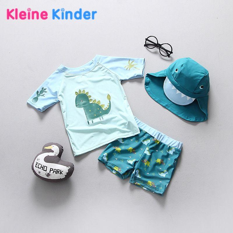 2018 Baby Kleinkind Jungen Badeanzug Dinosaurier Muster Separate jungen Bademode Kinder Badeanzug UPF50 + Anti-Uv Sonnencreme Beachwear
