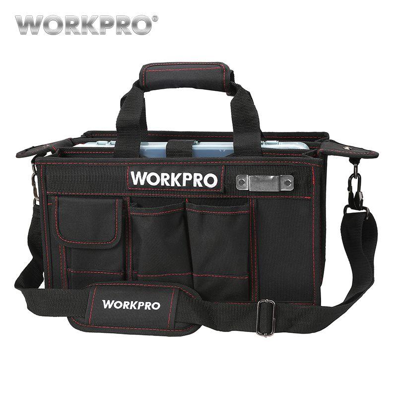 Sac à outils à bandoulière WORKPRO 600D avec plateau central Kits d'outils étanches poches pour sacs électriques