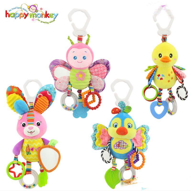 Animal Handbells Musical Developmental Toy Bed Bells Kids Baby Soft Toys Rattles