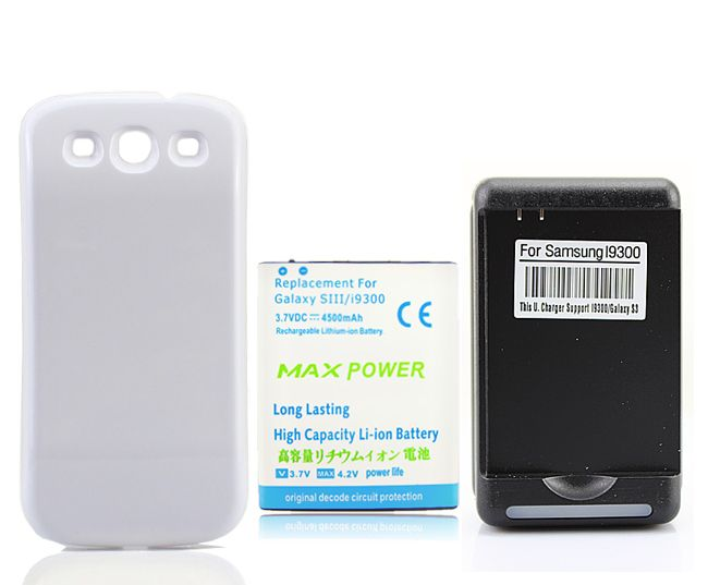 4500mAh Extended Battery + White Back Case Cover +Wall Charger For Samsung Galaxy S 3 III S3 i9300, Free Shipping