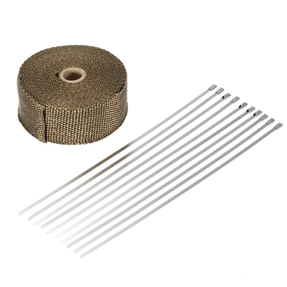 Motorcycle Exhaust Pipe Header Heat Wrap Resistant Downpipe Stainless 10mx5cm for Car Exhaust Pipe Motorcycle Exhaust Motorcycle