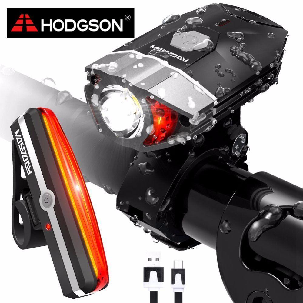 HODGSON USB Rechargeable LED Bike Light Waterproof Front Light Tail Light Set Bicycle Headlight Taillight Rear Lamp Set 8102
