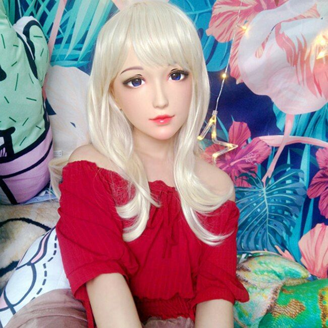 (Ching-01) weibliche Süße Mädchen Harz Hälfte Kopf Kigurumi BJD Maske Cosplay Japanischen Anime Rolle Lolita Maske Crossdress Puppe Maske