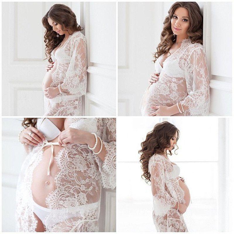 Le <font><b>Couple</b></font> White Lace Maternity Dress Eyelashes Lace Pregnancy Dress Maternity Potography Props Maternity Nightdress Sleepwear