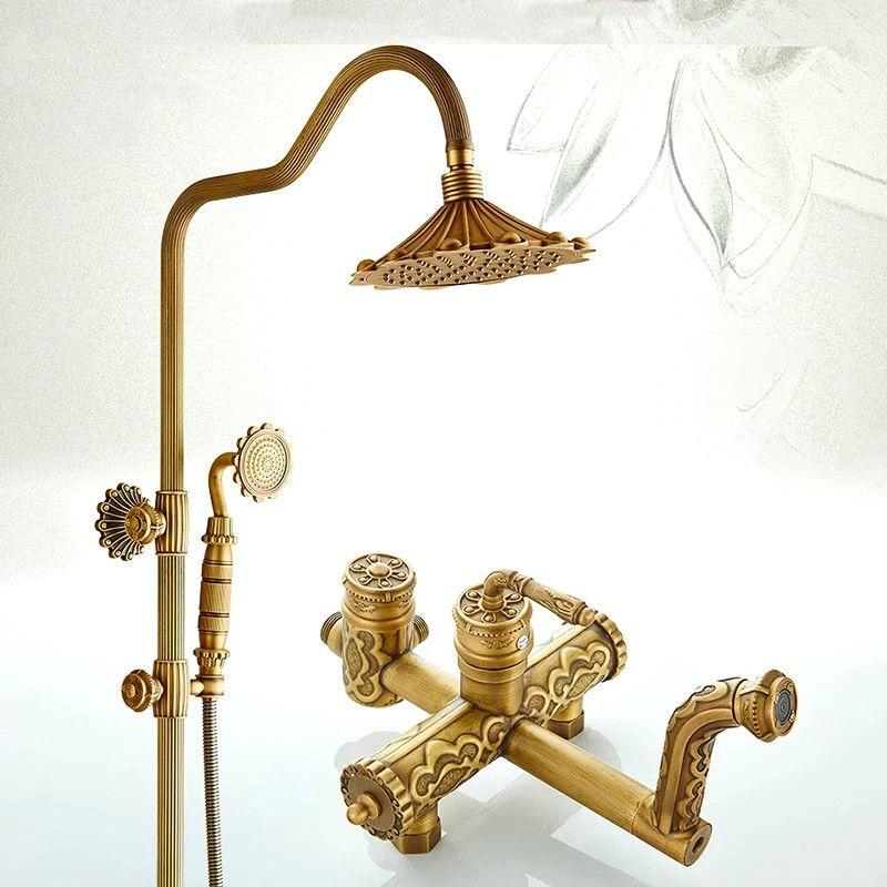 Dusche Armaturen Antike Badezimmer Dusche Set Bad Regen Dusche Wand Montiert Hand Messing Dusche Chuveiro Tun Banheiro WF-190620