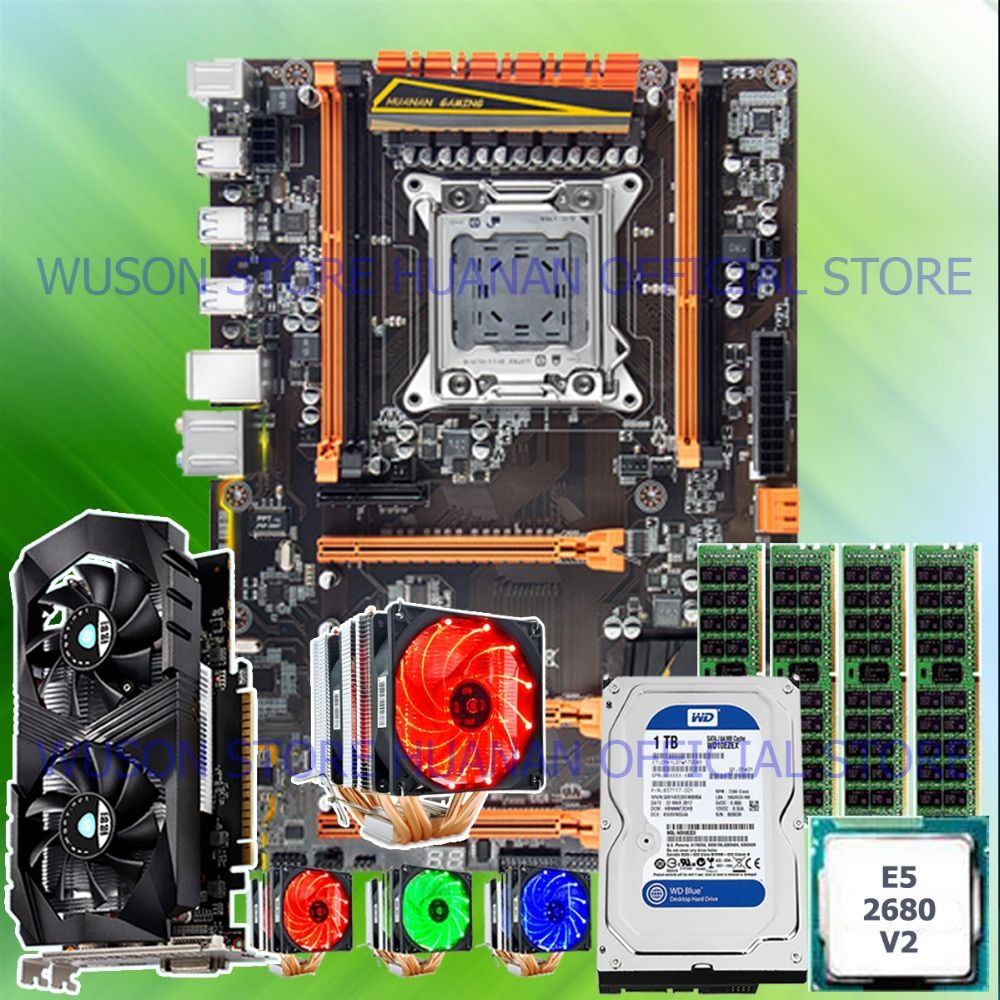 !!HUANAN deluxe X79 mainboard CPU E5 2680 V2 with 6 heatpipes cooler RAM 16G(4*4G) DDR3 RECC 1TB 3.5' SATA HDD GTX1050Ti 4GD5 VC