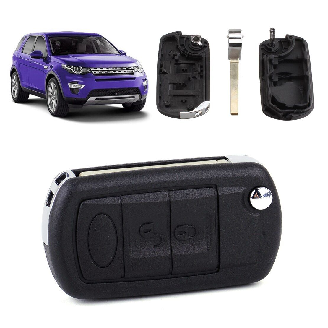 CITALL New 3 Buttons Remote Flip Key Shell Case Fob Fit for Land Rover LR3 Range Rover Sport 2006 2007 2008 2009