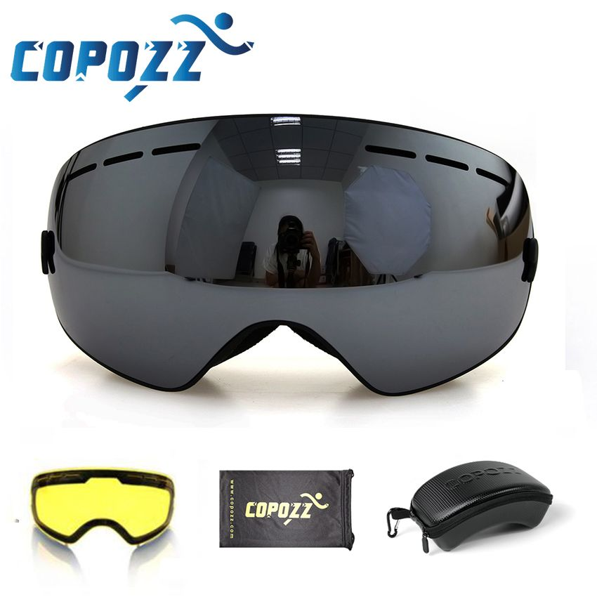 COPOZZ brand ski goggles 2 layer lens anti-fog UV400 day and night spherical snowboard glasses men women skiing snow goggles Set