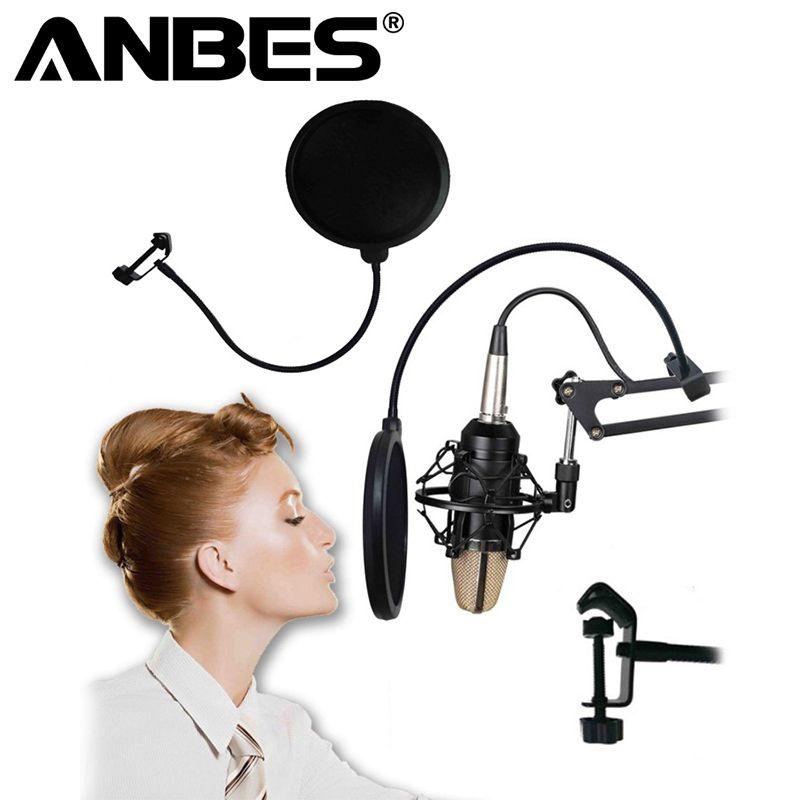Mini Professional Microphone Recording Koraoke Mic Wind Screen Pop Filter Microphone For Singing Video Cover Mask Shield Studio